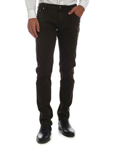 Jacob Cohën - 5-pocket trousers in brown worked fabric