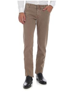 Jacob Cohën - 5-pocket trousers in beige worked fabric