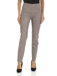Lorena Antoniazzi - Leather trousers in dove grey color