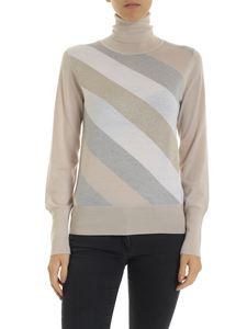 Lorena Antoniazzi - Beige and grey striped turtleneck