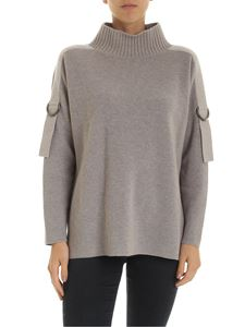 Lorena Antoniazzi - Dropped shoulder pullover in mud-colored pure cashmere