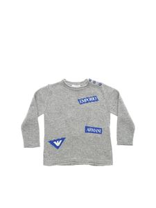 Emporio Armani - Grey pullover with blue inlays