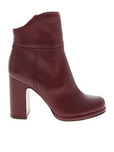 L'Autre Chose - Burgundy ankle boots with branded zip
