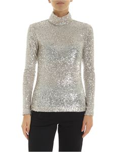 L'Autre Chose - Turtleneck sweater in silver sequins