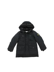Stone Island Junior - Black down jacket with felt insert