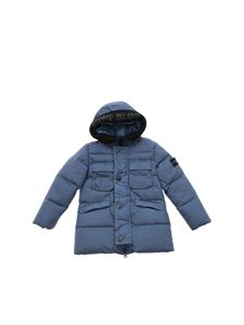 Stone Island Junior - Light blue down jacket with felt detail