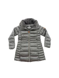 Save the duck - Gray down jacket with eco fur detail