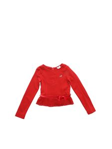 Monnalisa - Red t-shirt with velvet belt