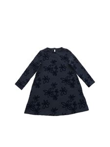 Il Gufo - Blue long sleeve dress with flock print
