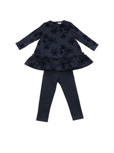 Il Gufo - Blue tracksuit with flock flowers