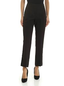 Ermanno by Ermanno Scervino - Flared black trousers with velvet details
