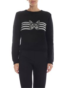 Ermanno by Ermanno Scervino - Black crew-neck pullover with butterfly embroidery