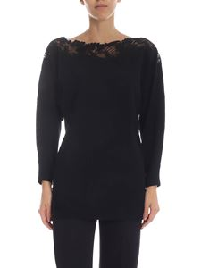 Ermanno by Ermanno Scervino - Black pullover with lace on the neckline