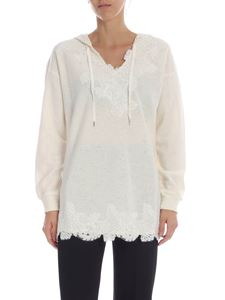 Ermanno by Ermanno Scervino - Sweatshirt in ivory color with lace details