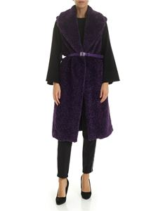 Ermanno by Ermanno Scervino - Sleeveless coat in purple eco-fur