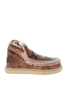 Mou - Eskimo reptile effect sneakers in beige and brown