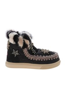 Mou - Eskimo Star Patches and Mink Fur sneakers in grey