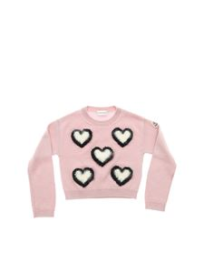 Moncler Jr - Pink pullover with embroidered hearts