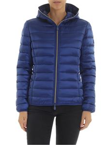 Save the duck - Electric blue down jacket with logo patch