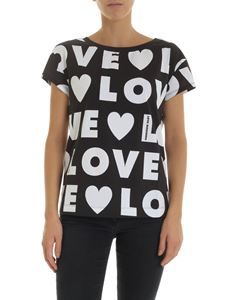 Love Moschino - Anthracite-colored T-shirt with Love print