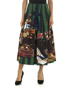Stella Jean - Blue and green pleated skirt with print