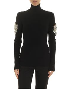 Dondup - Black turtleneck with jewel details