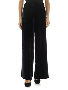 Semicouture - Chenille palazzo trousers in blue
