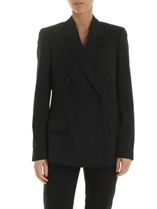 Calvin Klein - Double-breasted jacket in black wool twill
