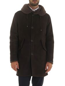 Herno - Brown sheepskin jacket with drawstring