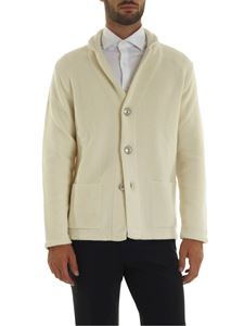 Fedeli - Moss stitch cardigan in ivory color