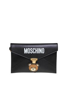Moschino - Teddy Pocket clutch in black leather