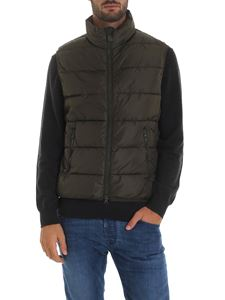 Save the duck - Sleeveless down jacket in Army green color