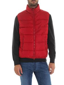 Save the duck - Sleeveless down jacket in red color