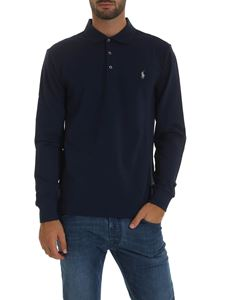 POLO Ralph Lauren - Melange blue polo shirt with logo embroidery