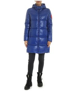 Save the duck - Down jacket in electric blue with logo patch
