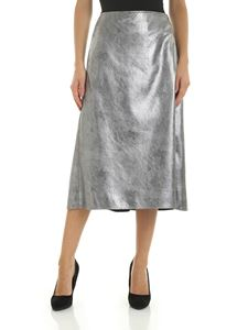 Incotex - Flared skirt in silver eco-leather