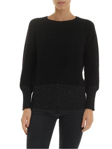 Lorena Antoniazzi - Pullover in black with sequins on the bottom