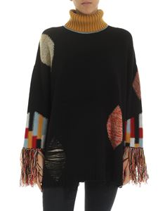 Ballantyne - Fringed sleeves pullover in black