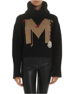 Moncler - Black tricot turtleneck with M embroidery
