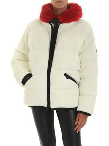 Moncler Grenoble - White down jacket with eco-fur collar
