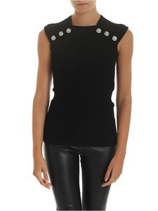 Balmain - Top nero con bottoni in metallo argentato