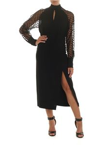 Balmain - Black silk dress with plumetis sleeves