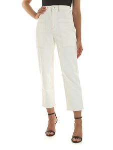 Stella McCartney - Jeans color crema con cuciture a contrasto