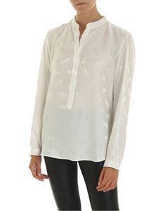 Stella McCartney - Blouse in white silk with tone-on-tone pattern
