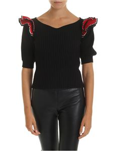 MSGM - Black pullover with red ruffles