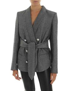 Balmain - Black and silver lamè blazer with belt