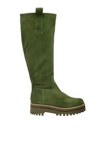 Paloma Barceló - Amira leather boot in Lattuga green with handles