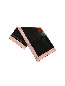 Valentino - Silk scarf in black and pink