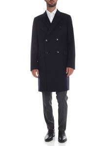 Paul Smith - Wool and cashmere double-breasted coat in blue