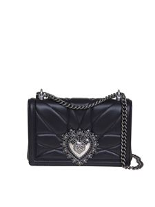 Dolce & Gabbana - Devotion medium bag in black matelassé nappa leather